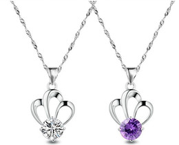 Fashion Party Jewelry Lady 925 Sterling Silver Crystal Amethyst Imperial Crown Shaped Necklace Pendant