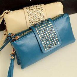 Wholesale mini bags Korean PU leather rivet clutch casual leisure handbag women shoulder bags lady dinner hand bag lady purse evening bag wallets