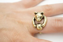 Wholesale Min pc Vintage Silver and bronze Hippie Knuckle Rolling Ball Cat Ring Punk Mid Finger Boho Chic Burnished Animal To Us Rings JZ312