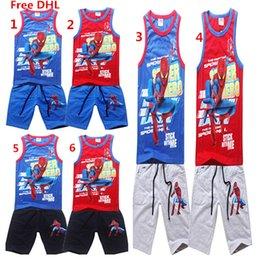 Spiderman ensembles de vêtements d'été à vendre-Spiderman garçons Summer Beach Set Vêtements enfants Coton Débardeur Pantalons Cinquième 2PCS Set Enfants courtes tenues casual Set