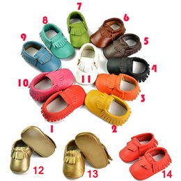Wholesale Baby moccasins soft sole moccs genuine leather prewalker booties toddlers babies infants fringe cow leather moccasin shoes K005