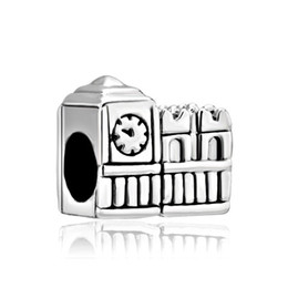 Fashion women jewelry metal loose charms London clock tower European spacer bead charm fits Pandora bracelet