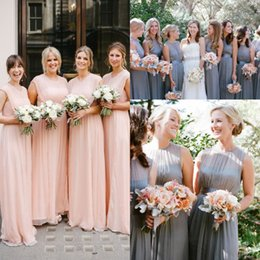 Wholesale Elegant Out Door Bridesmaid Dresses Spring Newest Jewel Neck Long Chiffon Cheap Dresses For Bridesmaid Custom Made