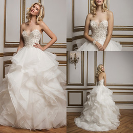 Wholesale 2016 Romantic Sweetheart Justin Alexander Unique Ball Gown Wedding Dresses Tiered Ruffles Beaded Embroidery Backless Long Bridal GownsBA0497