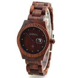 Wholesale Antique unisex analog bamboo sanders wood wristwatches automatic battery movement wooden wrist watches as lover boy christmas gift