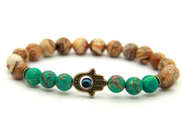 Wholesale New Arrival Picture Jasper Blue Sea Sediment Stone Antique Bronze Hamsa Protection Stretch Bracelets