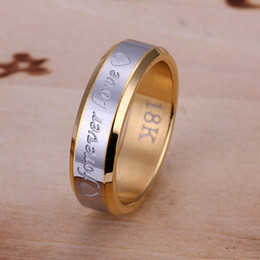 Fashion 18K Gold plated rings jewelry Forever Love Heart Men's Rings Jewelry