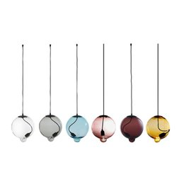 Wholesale Fashion Copper Globe Shape Pendant Light Glass Material Brief Novelty Dia cm cm cm w m Wire Hanging Lamp E27 LED order lt no track