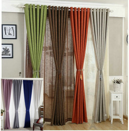 Linen Curtains For Living Room Tulle+Cloth Curtain White Red Orange Green Solid Rustic Eco-friendly Window Treatment Shades