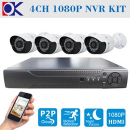 Outdoor Security Wired IP Camera System 4CH Network Video Recorder 1080P IP Camera NVR P2P ONVIF