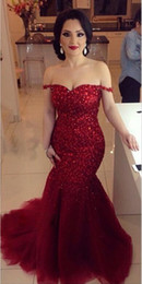 Long Luxury Burgundy Evening Gowns 2016 Off the Shoulder Mermaid Crystal Beaded Prom Dresses Dark Red Custom Made