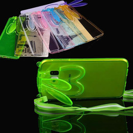 Wholesale Beautiful Design D Rabbit Bunny Ears Stand Transparent Cover Soft TPU Case for Samsung Galaxy S6 G9200 with Cord Strap MOQ