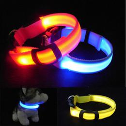 Wholesale LED Nylon Pet Dog Collars Night Safety LED Light up Flashing Glow In The Dark Electric LED Pets Cat Dog Collar CM Width S M L XL