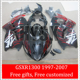 Motorbike Body Cover For Suzuki GSXR 1300 GSX-R1300 97 98 99 00 01 02 03 04 05 06 07 GSXR1300 Hayabusa Fairing Kits Red Fire Flame Style