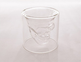 Wholesale Halloween Clear glass skull cups Vodka Shot Glass Pirate Vaccum Glasses Beer Cups best Drinking Ware new