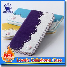 Wholesale Lovely Iphone Wallet Cases - Lovely Hello Kitty Pattern Flip PU Cellphone Case Wallet Stand Back Cover For iPhone 6 4.7 Inch