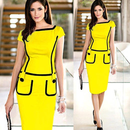 Wholesale Hot Career Ladies Formal Working Dress Slim Patchwork Knee length Women Work Bodycon Pencil Dresses Wholesales OXL13179