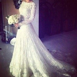 Wholesale Absolutely Stunning Lace Long Sleeve Wedding Dresses Luxury Lace Sequins Scoop Arabic Kaftan Hijab Style Crew A line Wedding Gown