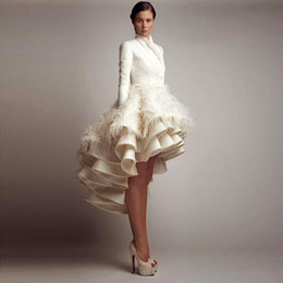 Wholesale Sale Top Fasion Ashi Studio Saudi Arabia Wedding Gown Feather Decoration Sexy Hi Lo Style Wedding Bridal Dresses With Long Sleeves Ball Gown