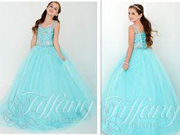 Wholesale Most Popular Sky Blue Girls Pageant Dresses Vestidos De Primera Comunion Deep V Neck Beaded Flower Girl Princess Kids Formal Evening Gowns