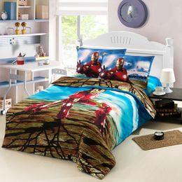 Wholesale new arrival iron man boys kids character bedding sets twin full size linen sheet duvet cover pillow bedclothes jogo ropa de cama Z25