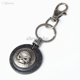 Wholesale Vintage style Genuine black retro sheild skull leather keychains with hooks usefull key chains for home tool free ship KY0152