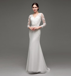 2016 New Modest Wedding Dresses Cheap With Long Sleeves Lace Appliques Beaded Sash Mermaid Real Photo Bridal Gowns In Stock Under 100