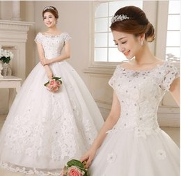 Wholesale angelwedding supply of new bride cap sleeves wedding dress a shoulder dress high grade lace satin dresses