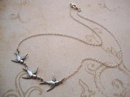 Wholesale 20pcs Tris Divergent Inspired Beatrice Prior Necklace Oxidized Silver Birds on Shiny Silver Plated Chain Dauntless Abnegation