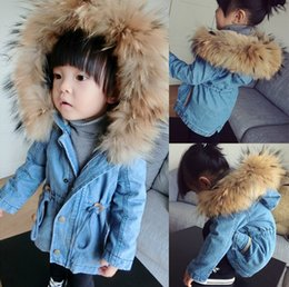 Wholesale 2014 Winter clothing new style children coats raccoon fur washing water denim add wool girls cowboy coat size kids hooded outwear SM900