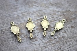 Wholesale 30pcs Mirror charms Antique Bronze lacy Mirrors Charm Pendants x10mm