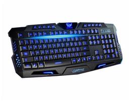 Teclado para juegos de luz de fondo azul en venta-Teclado retroiluminado Tricolor HK-M200 19 teclas Teclado azul iluminado con cable