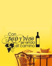 Wholesale Waterproof Wall Sticker Kitchen Con Pan Y Vino Se Anda El Camino Vinyl Wall Art Decals Quotes