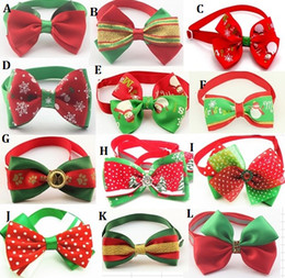 Wholesale 100pc Christmas Holiday Dog Bow Ties Cute Neckties Collar Pet Puppy Dog Cat Ties Accessories Grooming Supplies P88