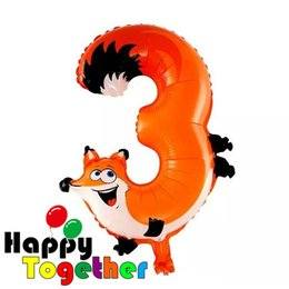 Wholesale-HAPPY TOGETHER Craft Factory 2015 New Hot Sell Cheap Free Shipping Orange Cute Fox Shaped Cartoon Animal Number 3 Foil Balloons