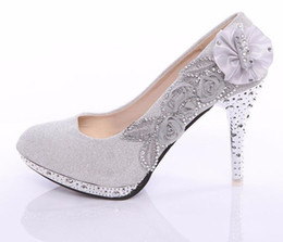 Women's Pumps Fashion High Heels Rhinestone Flower Shoes Sexy High Heel Bridal Wedding Shoes Plus Size 40 Free Shipping