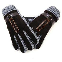 Wholesale Korea Gloves Style - Wholesale-Winter gloves men genuine leather gloves Korea style Men's Pig leather Soft Gloves Men winter mittens