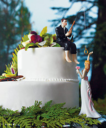 Wholesale New Arrival Bride And Groom Wedding Cake Fishing Cake Toppers Personalized Wedding Gifts Decorations
