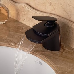Wholesale Modern Oil Rubbed Bronze Big Waterfall Bathroom Basin Faucet Deck Mounted Vanity Sink Mixer Tap