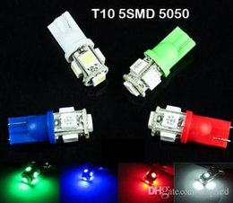500pcs T10 Wedge 5-SMD 5050 Xenon LED Light bulbs 192 168 194 W5W 2825 158 clearance lamp White green red blue daytime running
