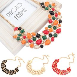 Wholesale Chunky Chain Bead Necklace - Fashion 5X Colorful Beads Charm Jewelry Chain Pendant Crystal Choker Chunky Statement Bib Necklace Women Jewelry Free Ship