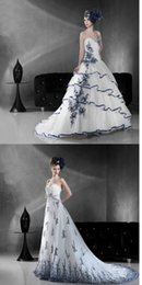 Wholesale China Elegant Blue And White Porcelain Element Lace up A line Court Train Wedding Dresses High Quility