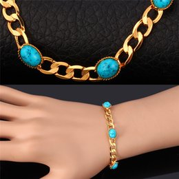 New Fashion Turquoise Bracelets Bangles For Women 18K Real Gold Plated Jewelry Bangles Turkey Stone Fashion Jewelry MGC H5149