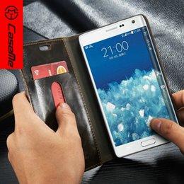 2017 teléfonos celulares casos de cuero Para la caja de cuero del teléfono celular de la carpeta del cuero de lujo R64 del borde de la nota de Samsung para la alta calidad libre del regalo del borde de la nota de la galaxia de Samsung económico teléfonos celulares casos de cuero