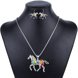 Wholesale MS1504258 Fashion Jewelry Sets High Quality Gold Plated Multicolor Horse Design Woman s Necklace Set Wedding Jewelry Party Gifts