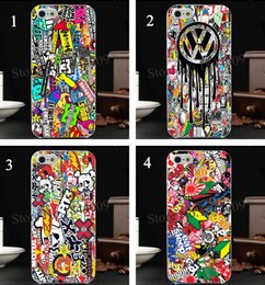Wholesale 4pcs bomb stickers Fox racing vw DC logo Hard Skin transparent stealth Case Cover for iPhone s s c