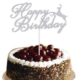 Christmas Elk Happy Birthday Cake Topper Flags Glittler Multi Colors Birthday Party Cake Baking Decor Birthday Cake Toppers