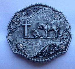 Horse with cross Buster Belt Buckle SW-Y11 suitable for 4cm wideth belt with continous stock free shipping