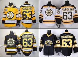 Wholesale Men s Boston Bruins Brad Marchand ice Hockey Jerseys home black white gold winter classic stitched size S XXXL