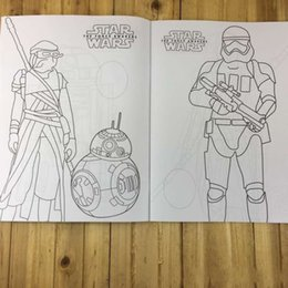 Wholesale 2016 Star Wars Cool Colouring Book Star Wars The Force Awakens Stickers Coloring Book Darth Vader R2D2 Stormtrooper Yoda Coloring Books A